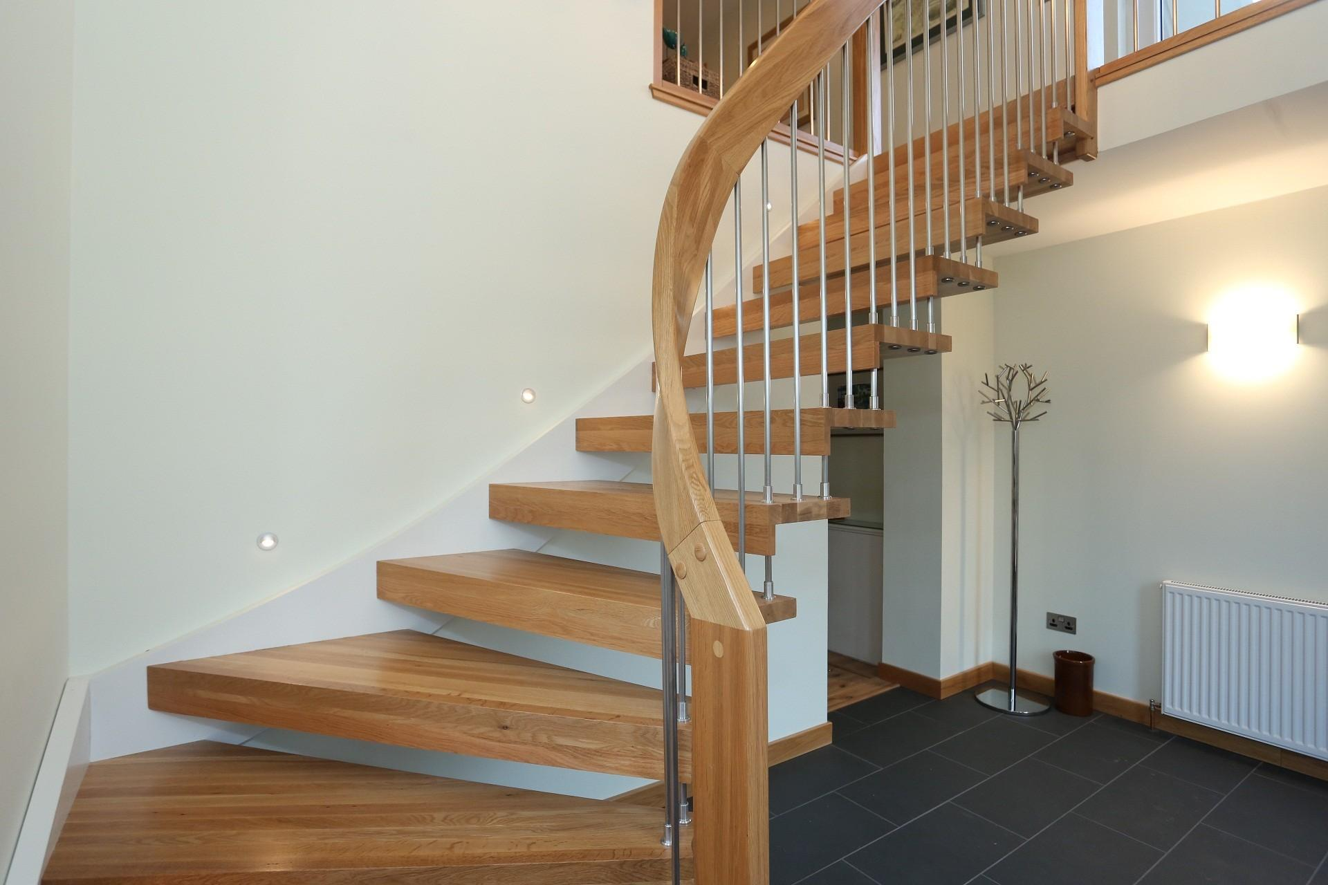 Wonderful Oak Unpolished Curved Open Staircase