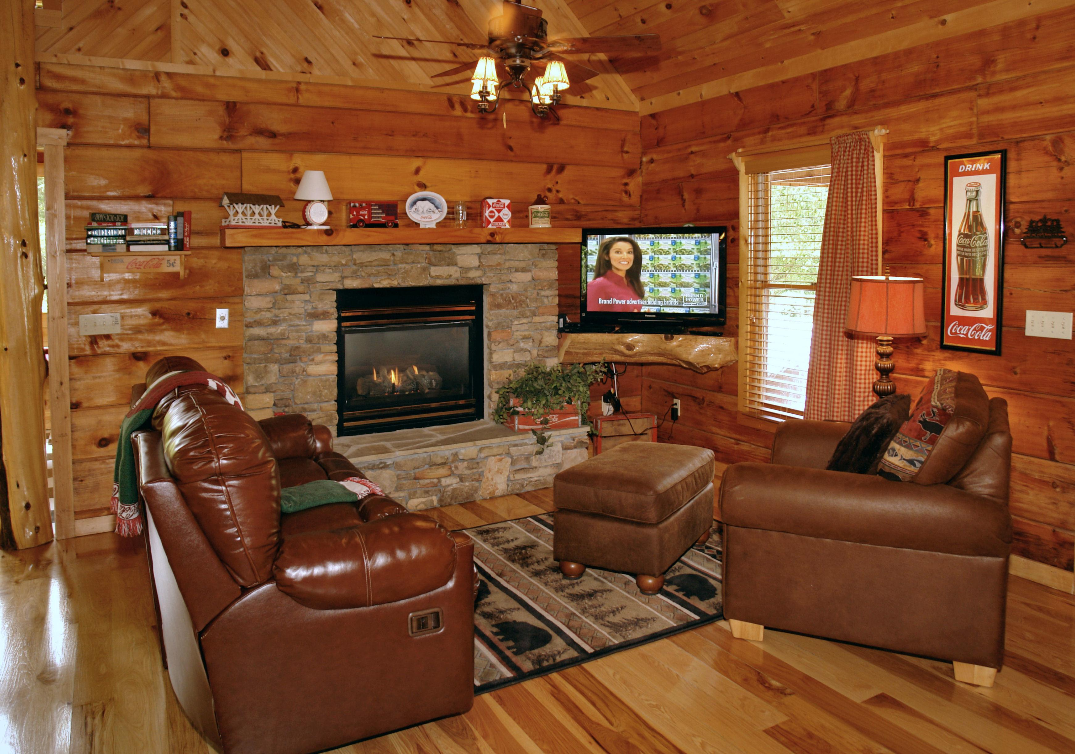 Wondrous Brown Leather Sofa Brick Wall Fireplace Also