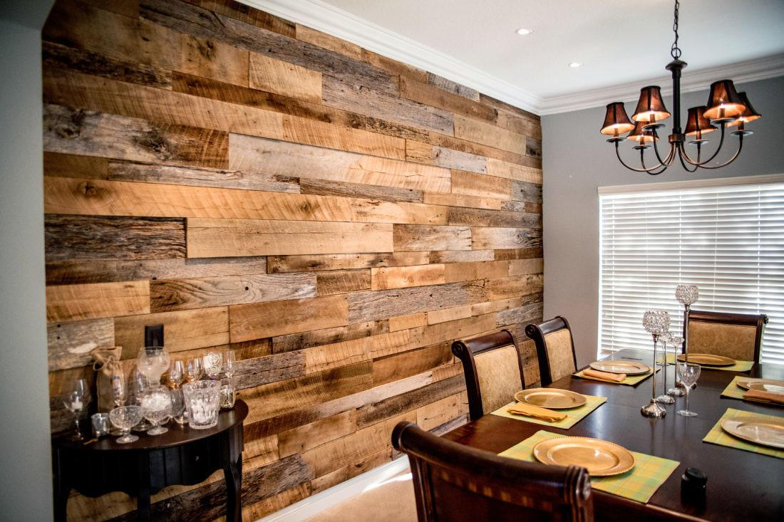Wood Accent Wall Dining Room Reclaimed