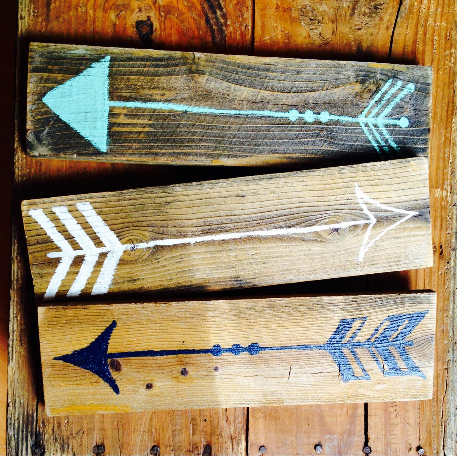Wood Arrow Sign Set Funky Signs Wall Art Bohemian