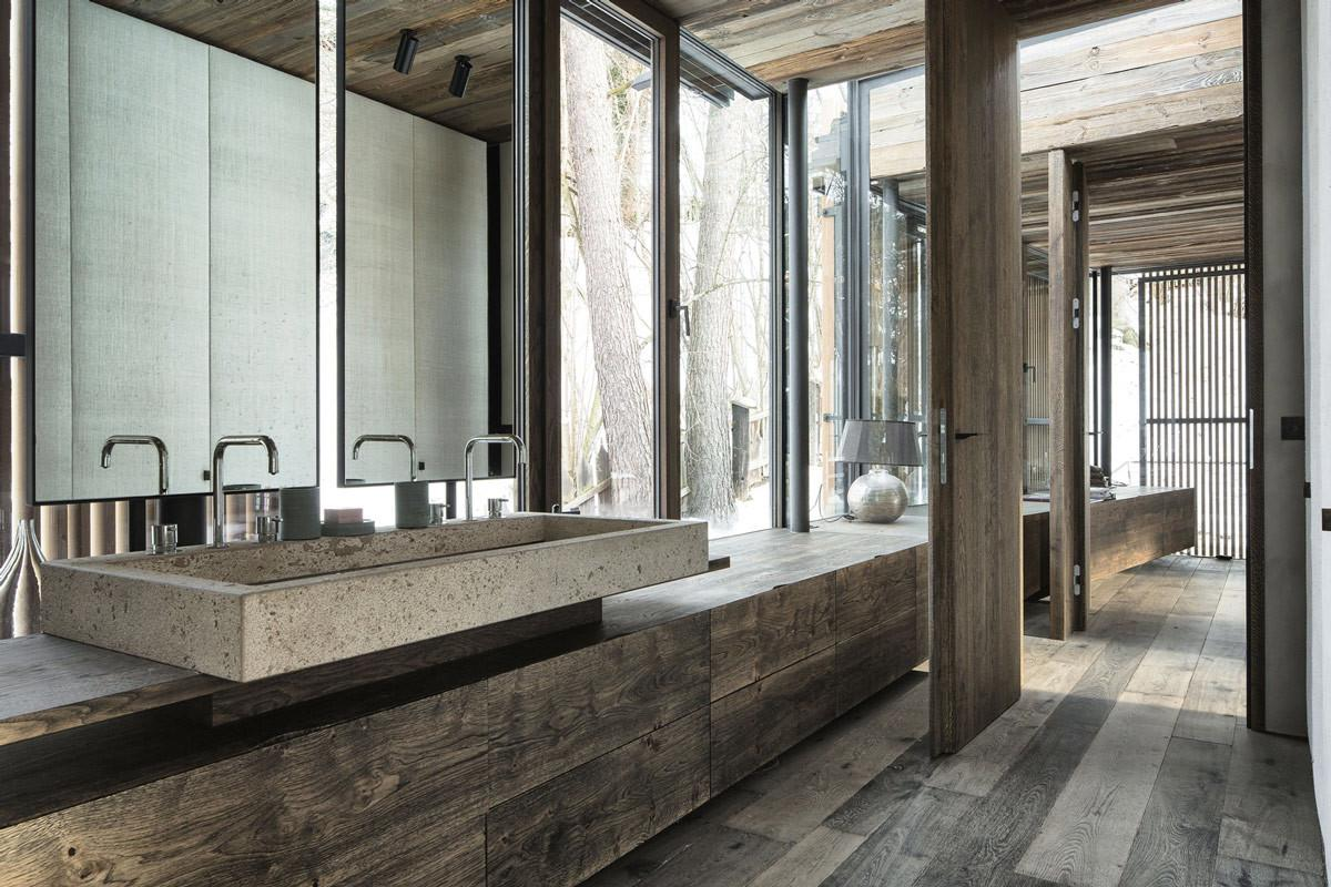 Wood Bathroom Concrete Sink Modern Home Mountains