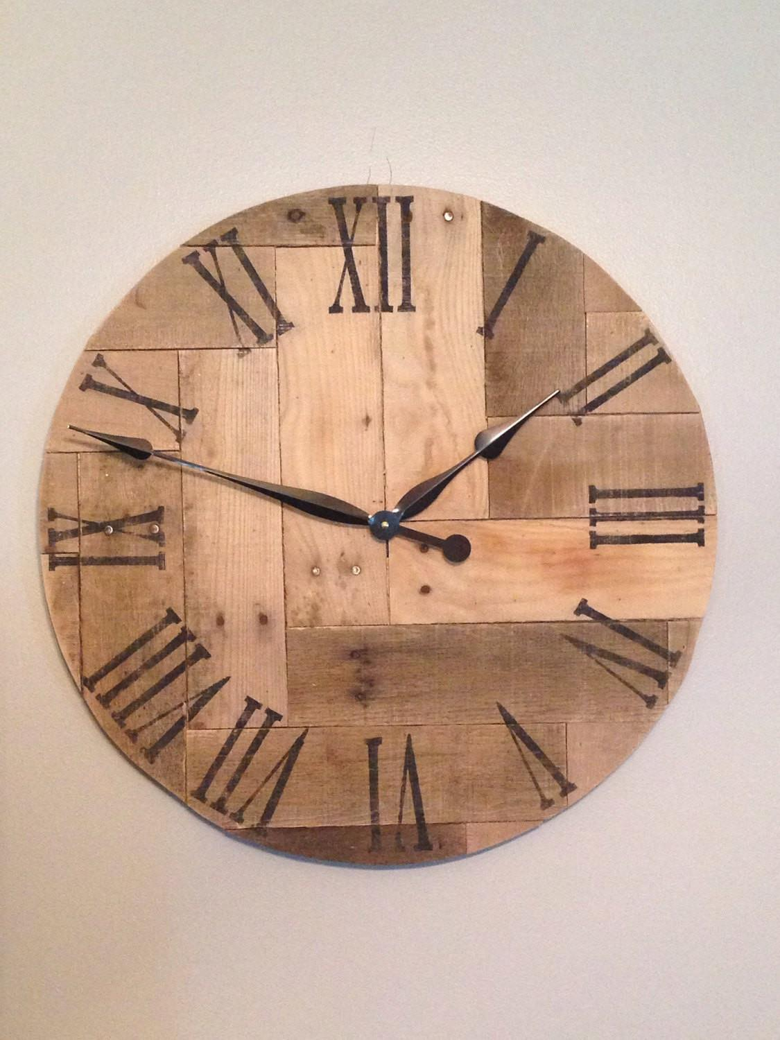 Wood Clock Rustic Pallet