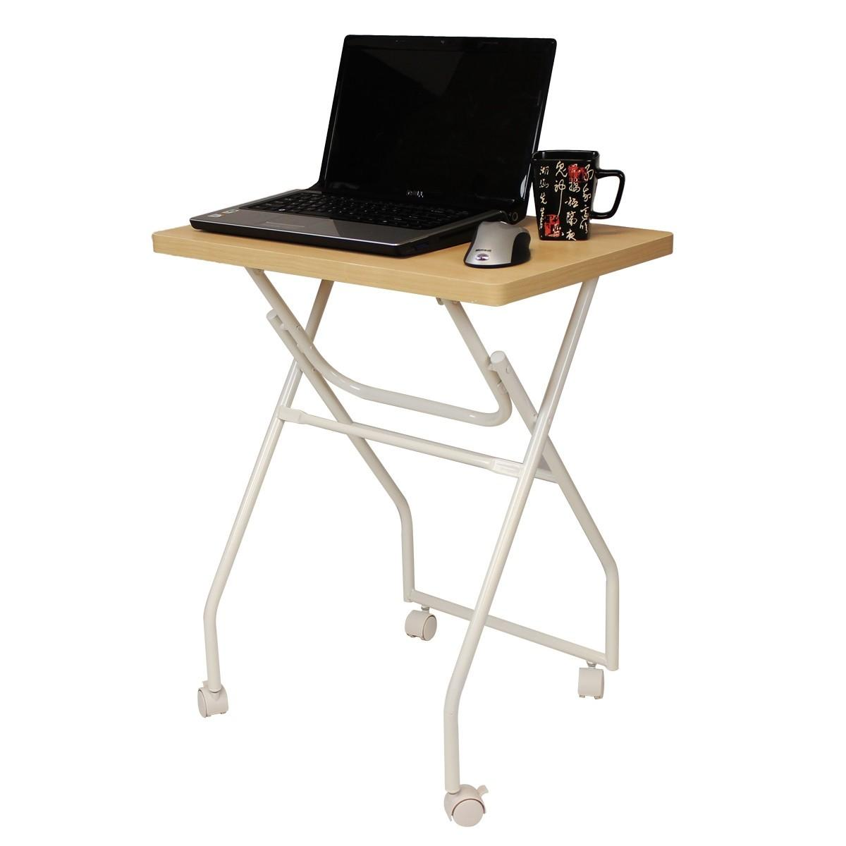 Wood Coffee Table Laptop Tray White Metal Stand