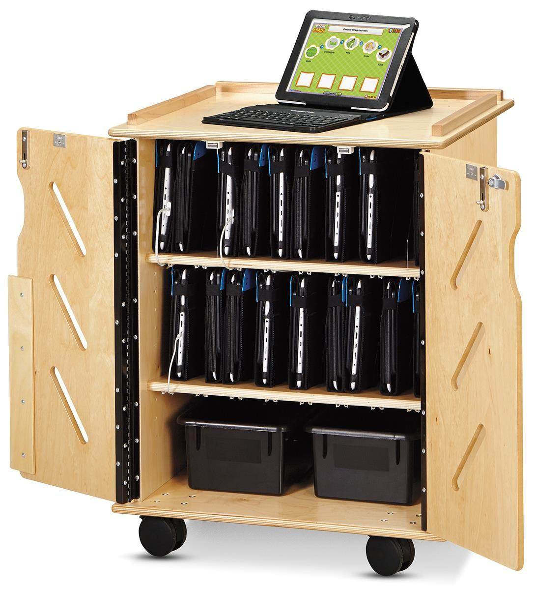 Wood Finish Tablet Cart Portable Secure Device Stoarge