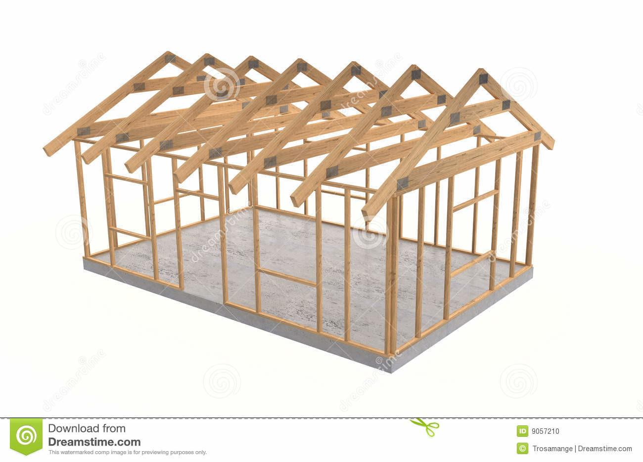 Wood House Frame Stock Square White