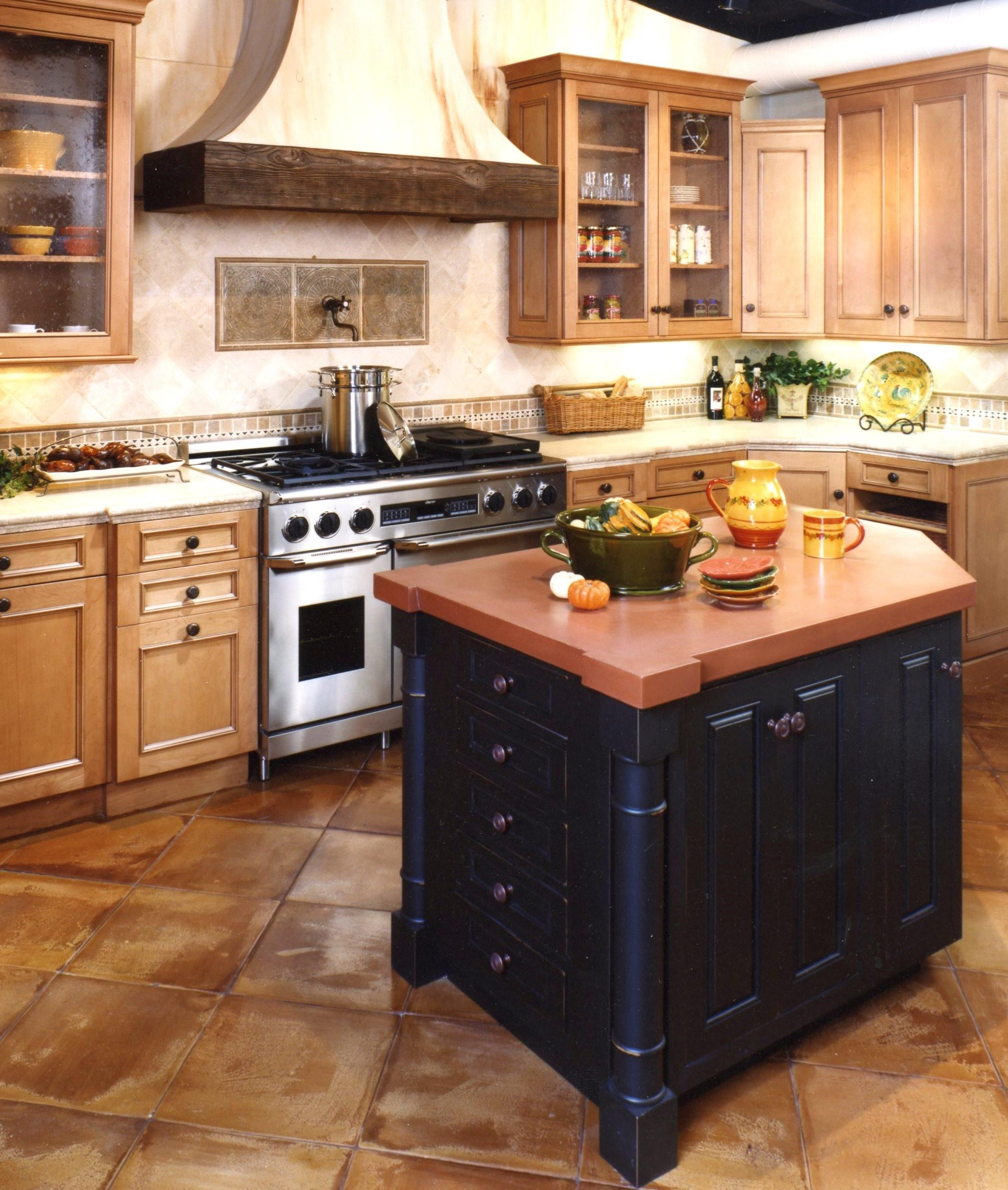 Wood Kitchen Cabinets Contrasting White Island Modern