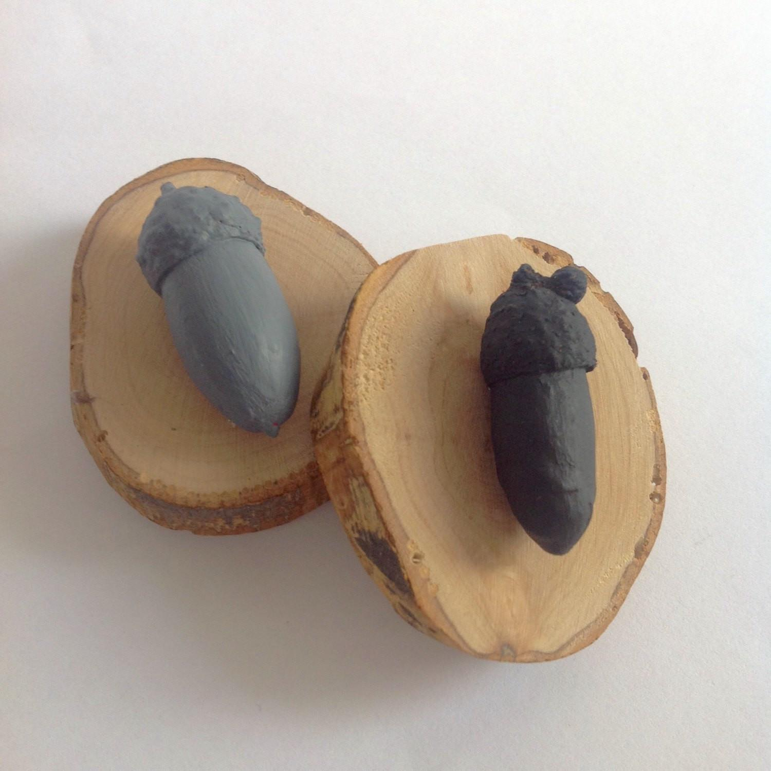Wood Magnets Real Acorns Olive Mylettersonthewall