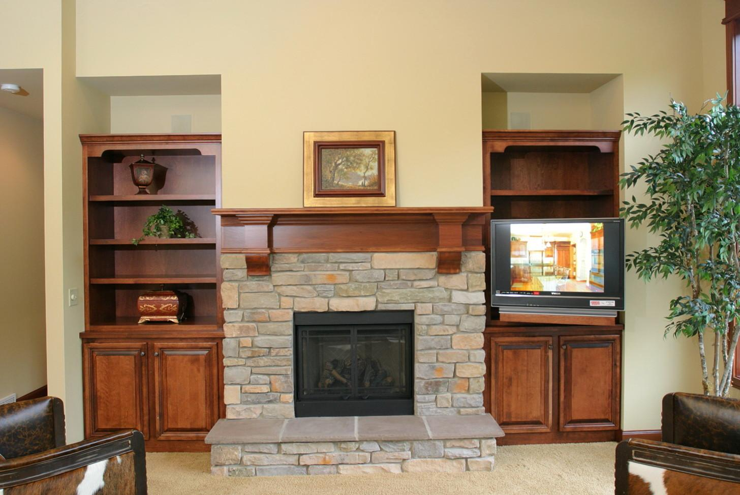 Wood Mantel Shelf Stone Fireplace Ideas