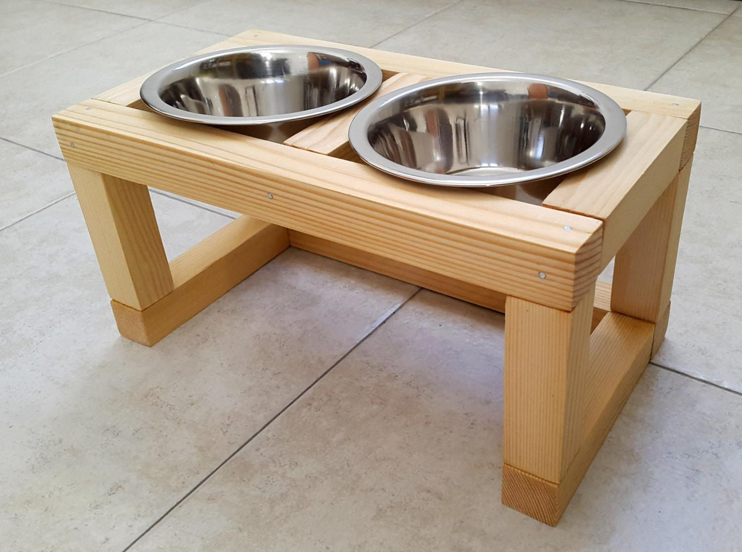 Wood Raised Pet Feeder Dog Feeding Station Cat
