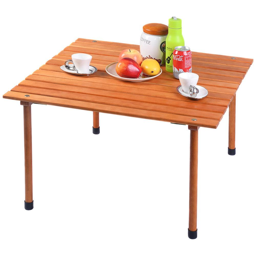 Wood Roll Table Folding Camping Outdoor Indoor Picnic