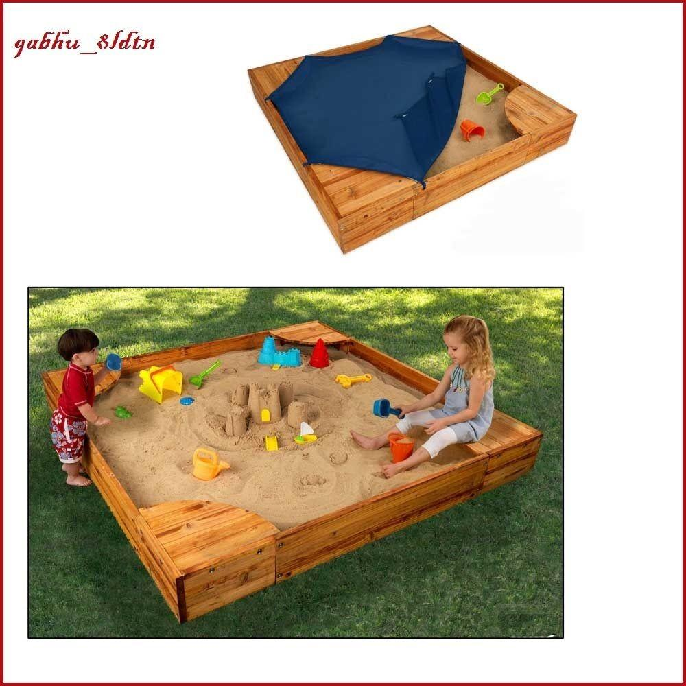 Wood Sand Box Cover Playground Outside Yard Activity