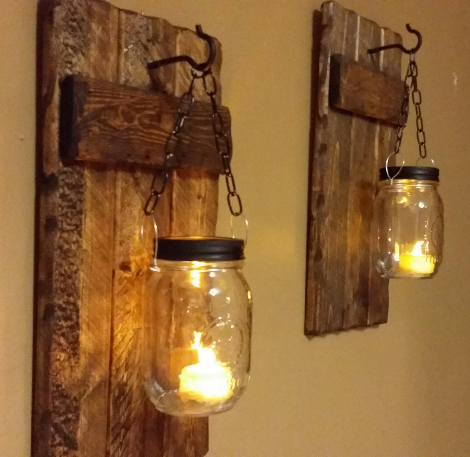 Wood Sconces Rustic Home Decor Candle Holder