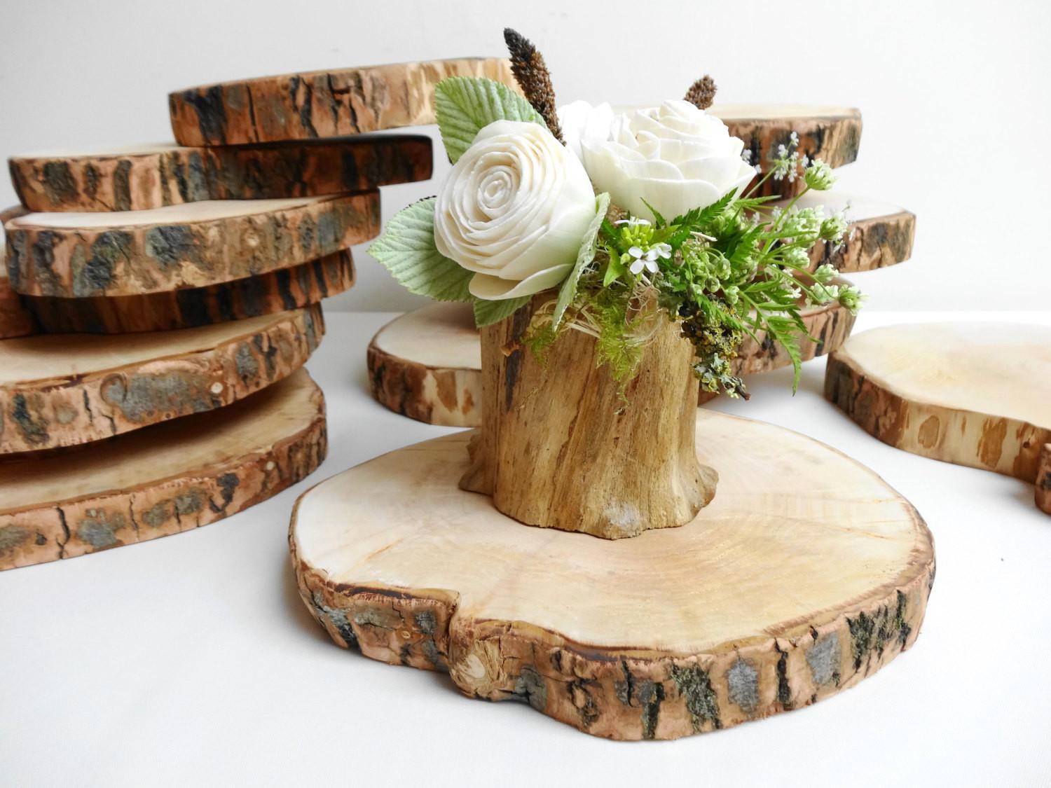 Wood Slices Under Plates Busy Lizzy Creations