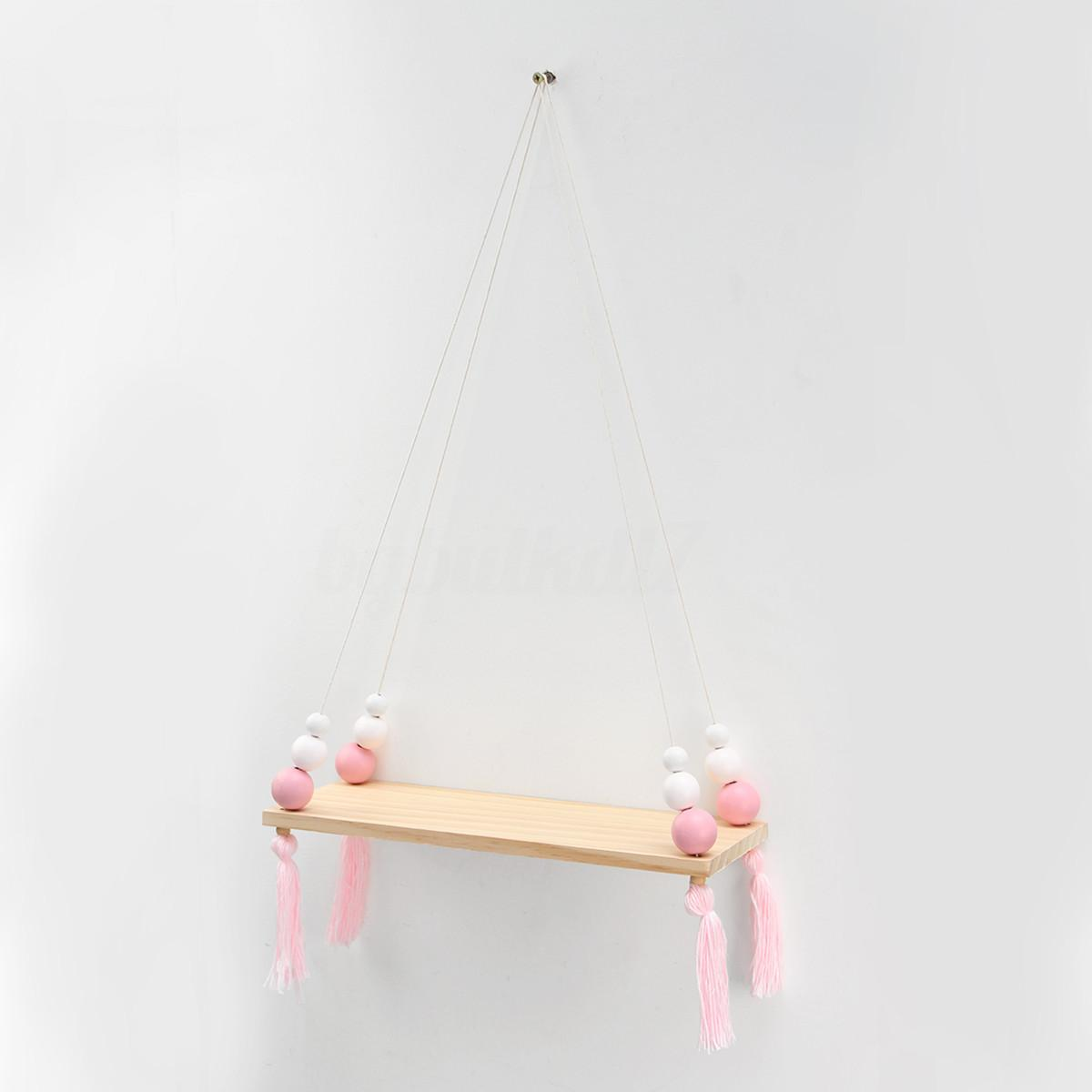 Wood Swing Shelf Tassel Octagon Beads Display Holder Wall