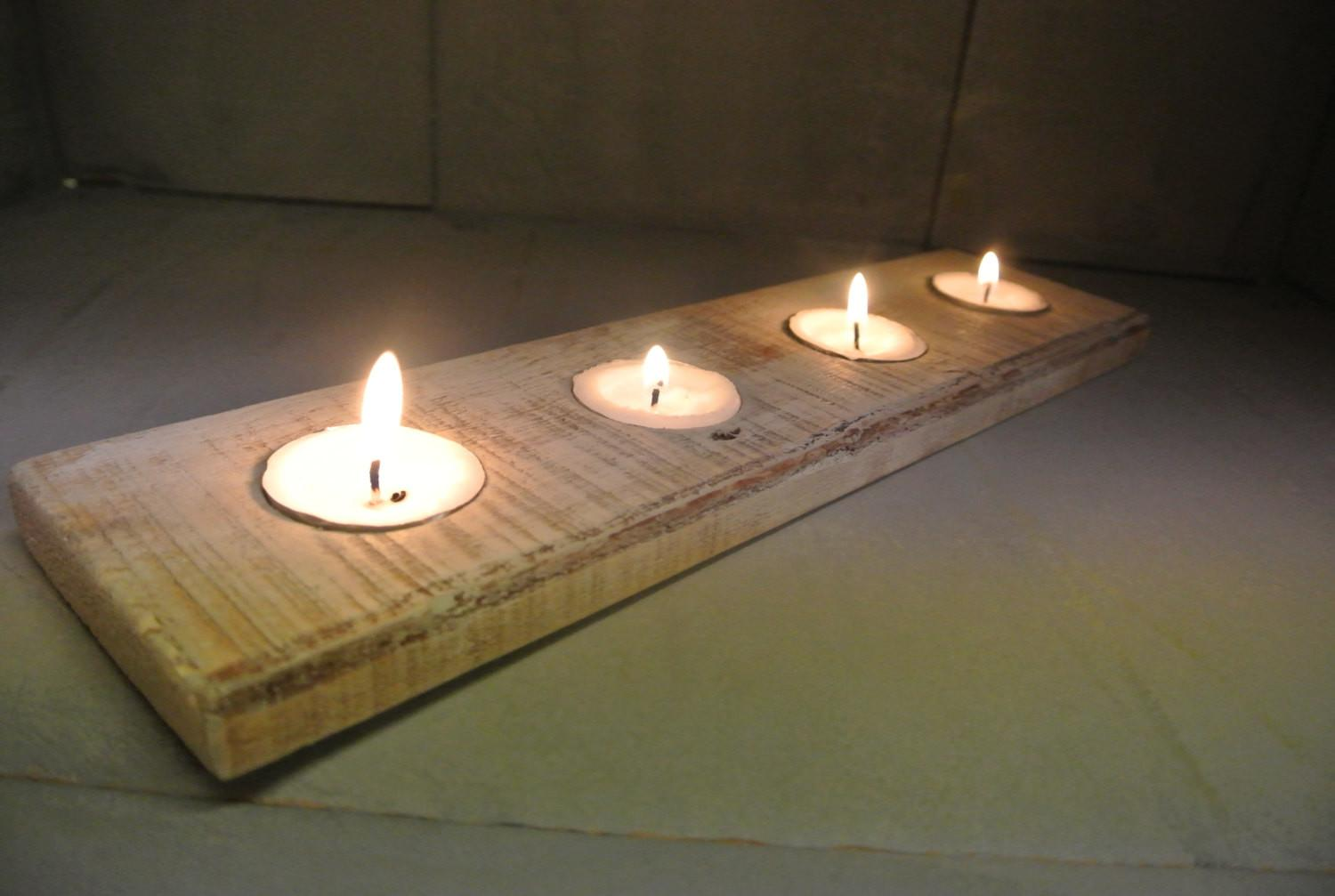 Wood Tealight Candle Holder Made Recycled Pallets