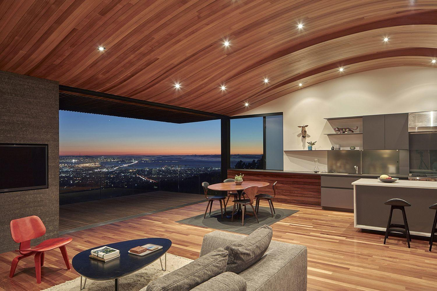 Wood Tube Curved Ceiling Shape Skyline House Atop