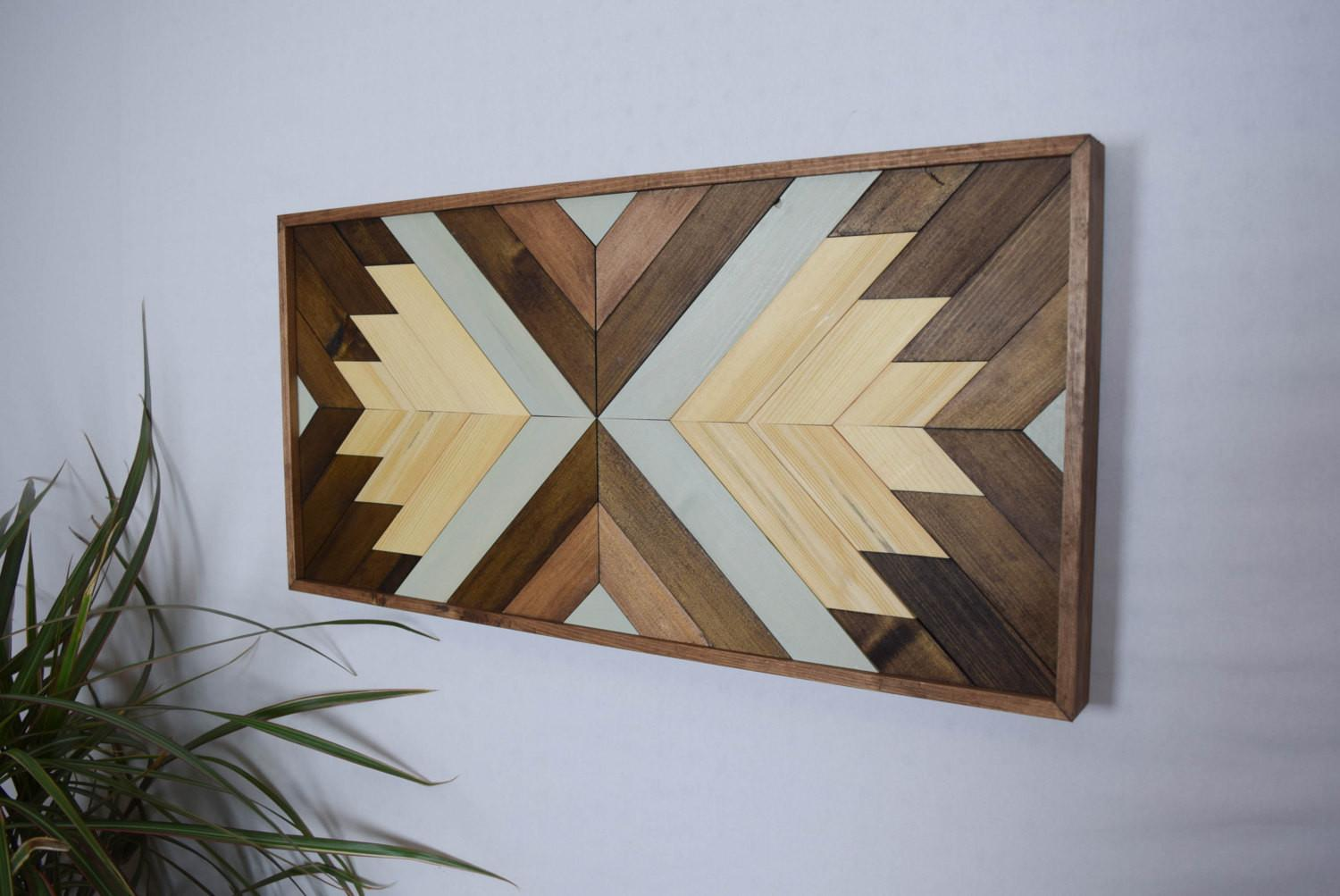 Wood Wall Art Contemporary Geometric