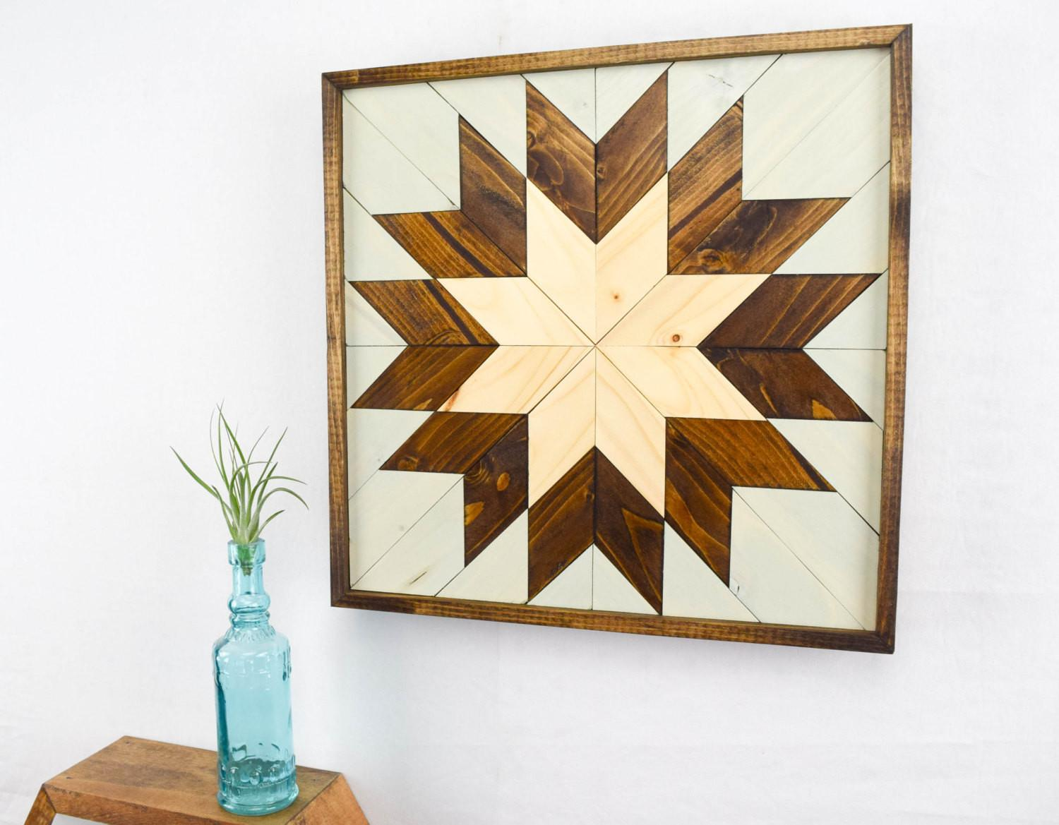 Wood Wall Art Small Star Quilt Block