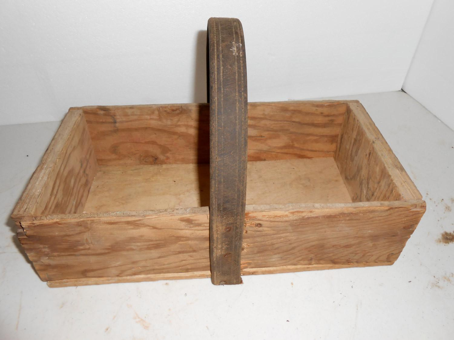 Wooden Box Leather Handle