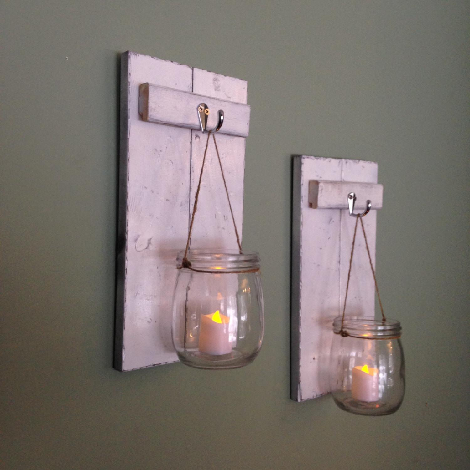 Wooden Candle Holder Mason Jar Wall Sconce Rustic Covedecor
