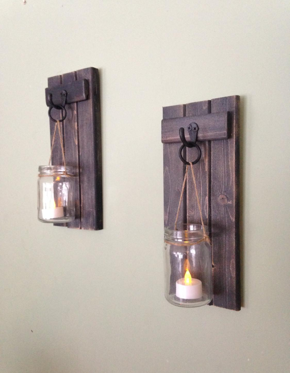 Wooden Candle Holder Rustic Wall Sconce Mason Jar