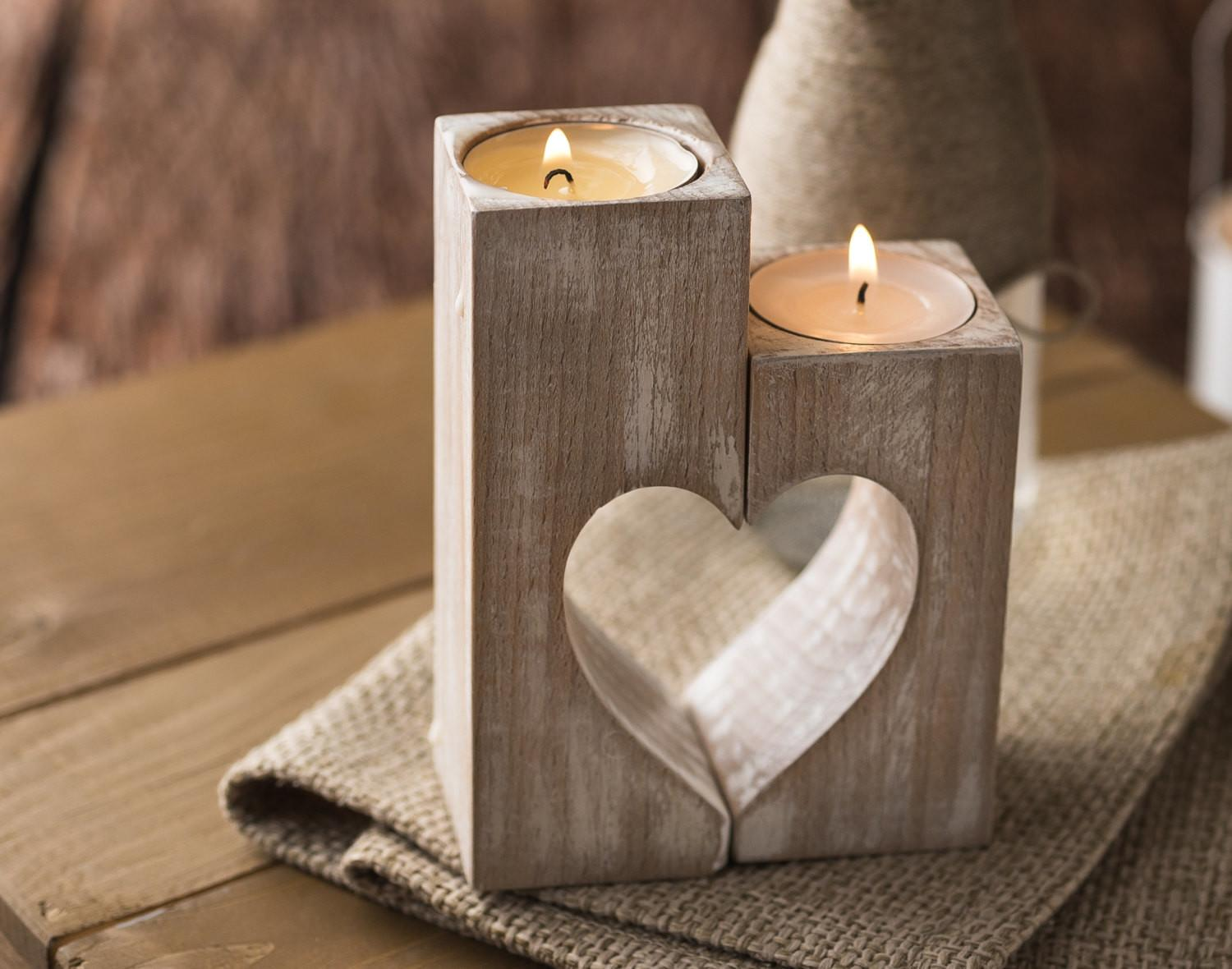 Wooden Candle Holders Rustic Holder Wood Hearts Mothers
