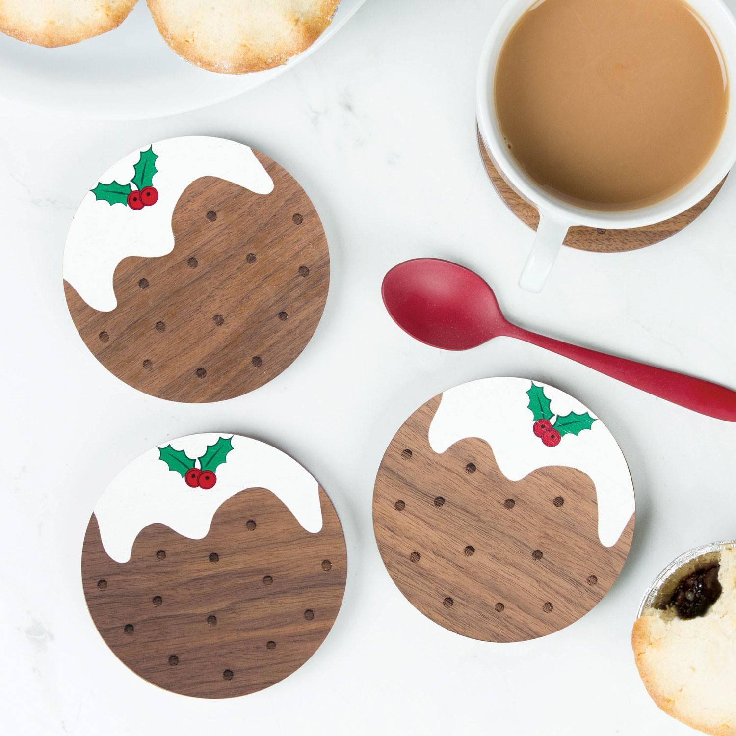 Wooden Christmas Pudding Coasters Create Gift Love