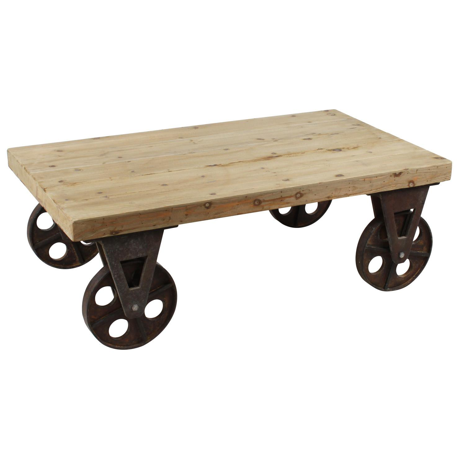 Wooden Coffee Table Wheels Achica