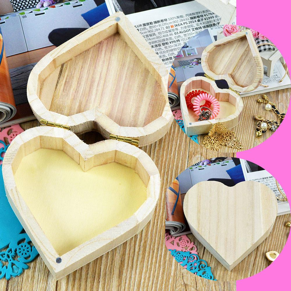 Wooden Crafts Toys Wood Jewelry Box Love Heart Shape Diy