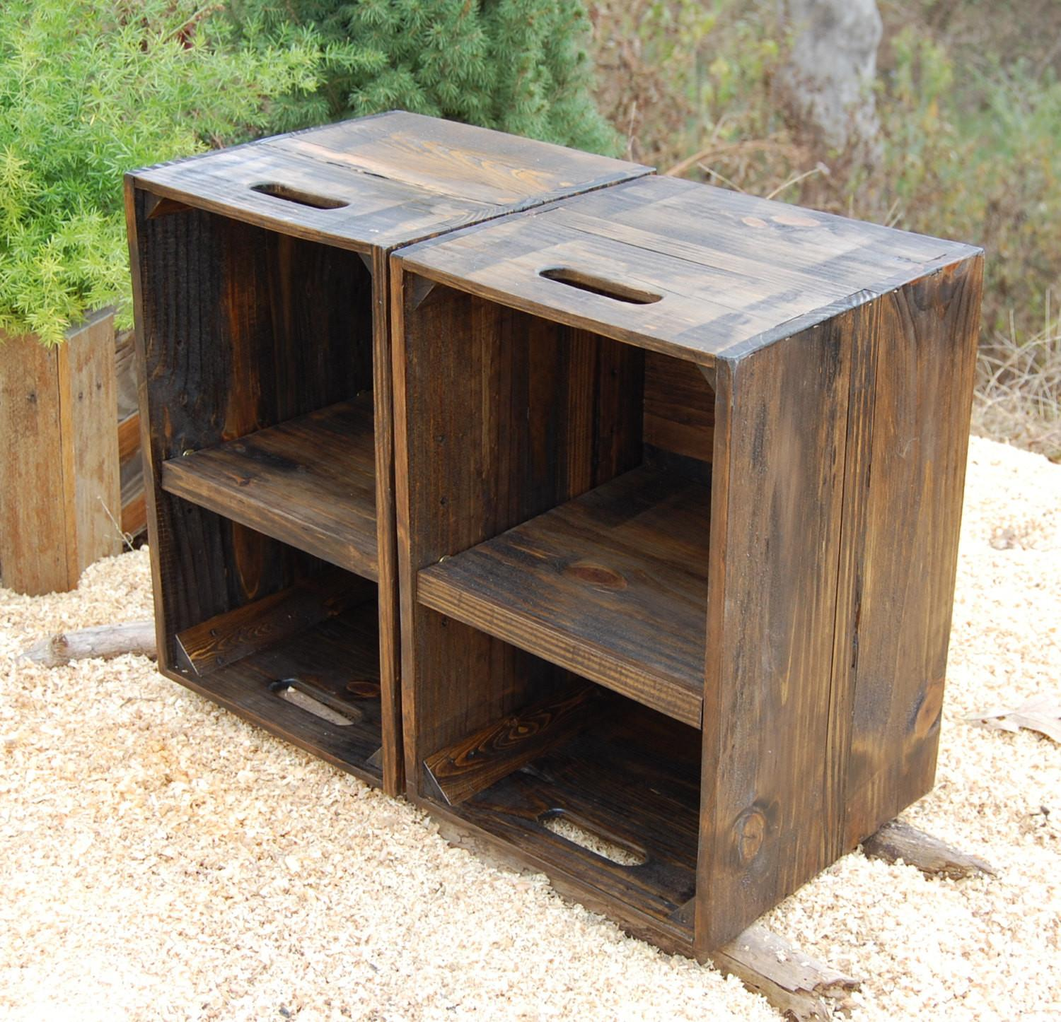Wooden Crates Nightstand Pair Side Tables Reclaim Wood