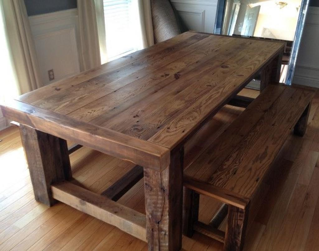 Wooden Dining Room Benches Best Reclaimed Table