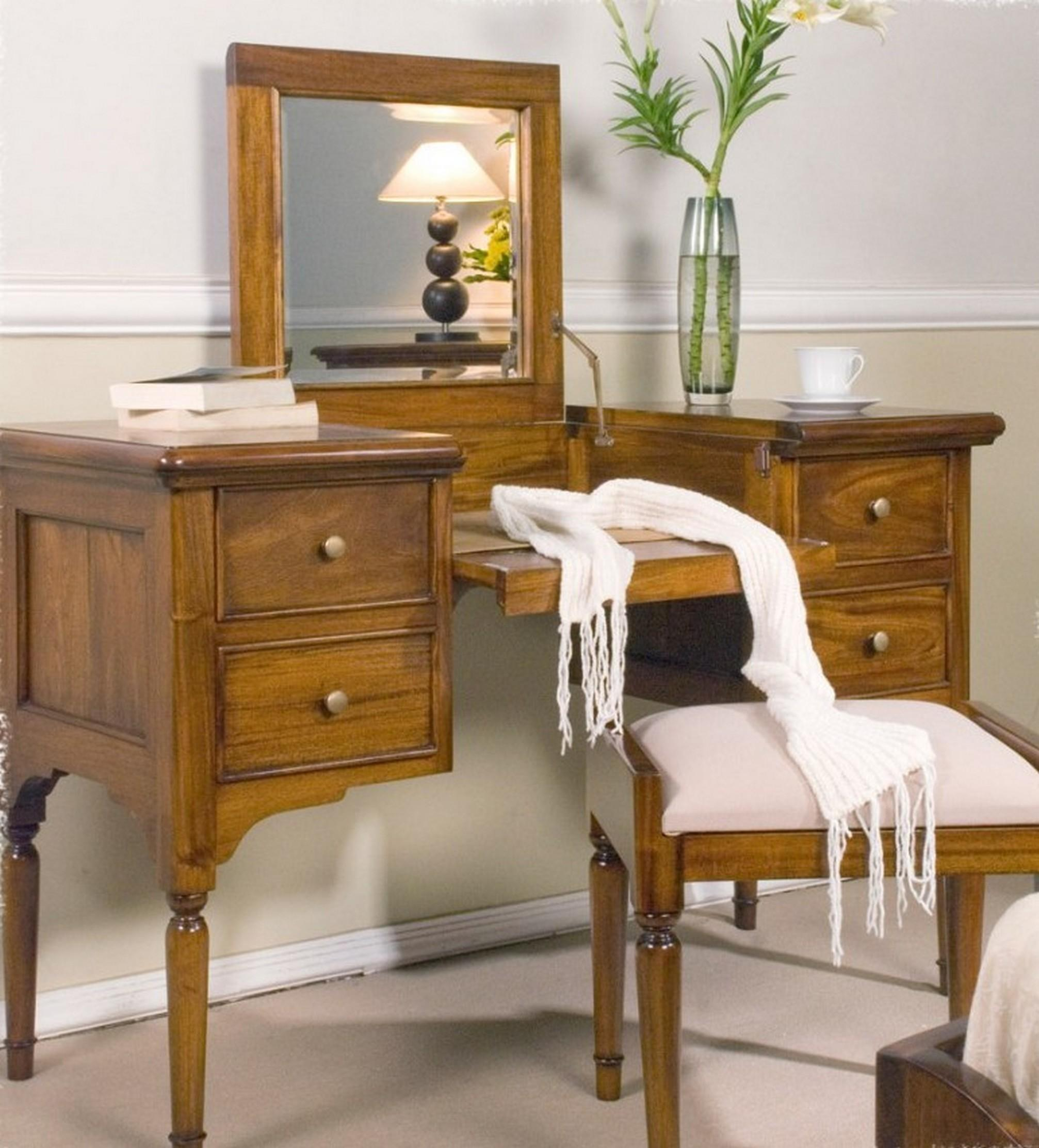 Wooden Dressing Table Mirror Drawers Also Using