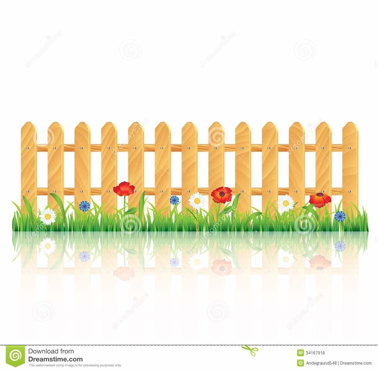 Wooden Fence Grass Flowers Royalty Stock