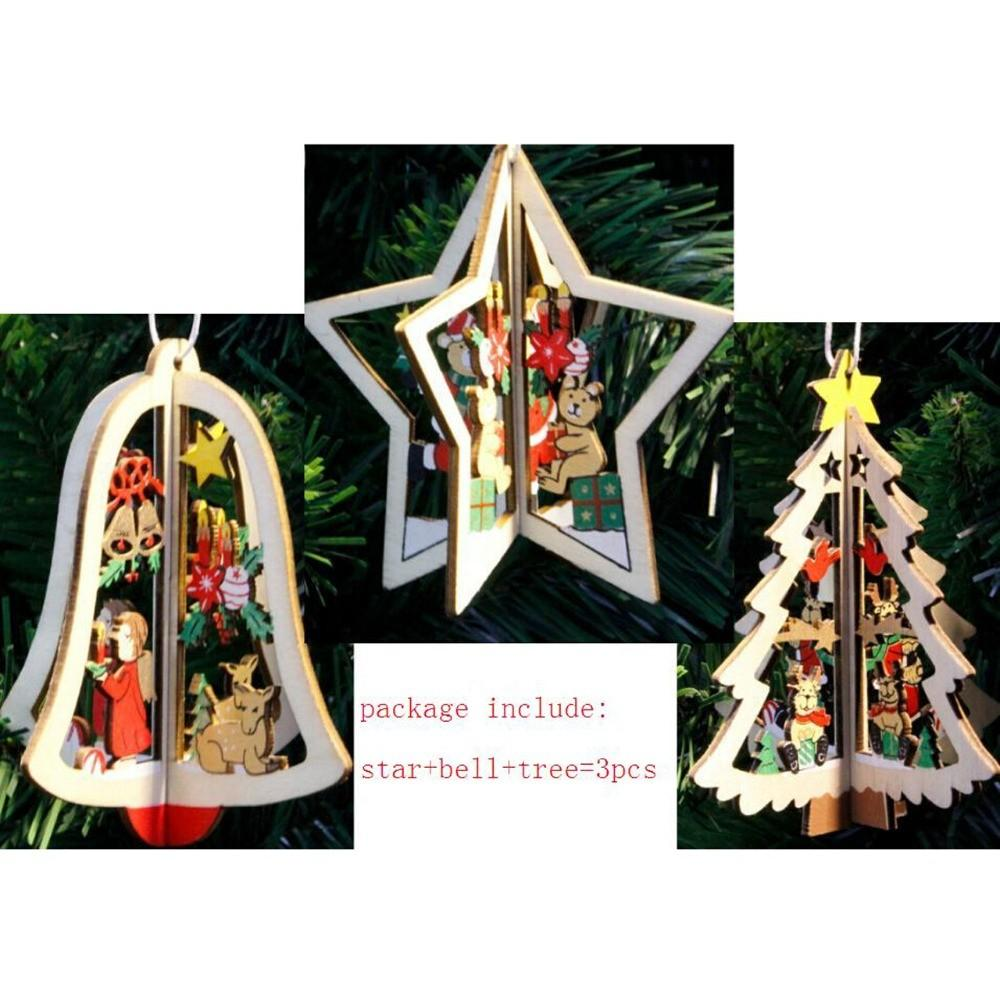 Wooden Five Star Christmas Tree Bell Hanging