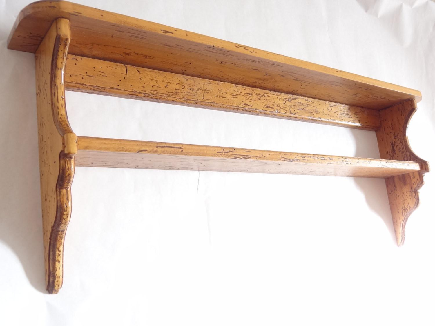 Wooden Hanging Shelf Vintage Wood Large Long Shelves