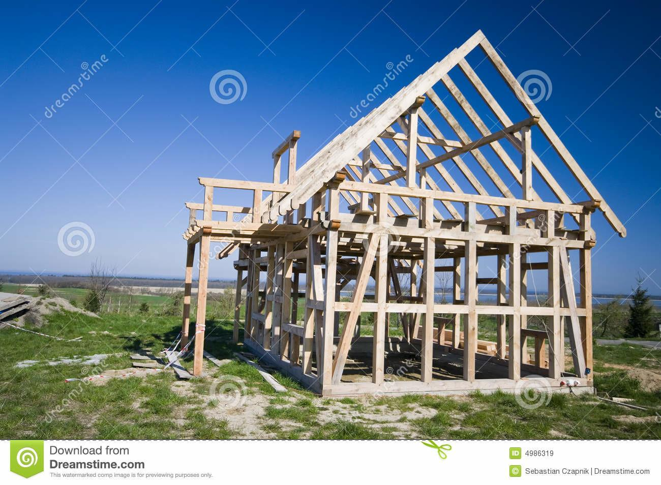 Wooden House Frame Royalty Stock
