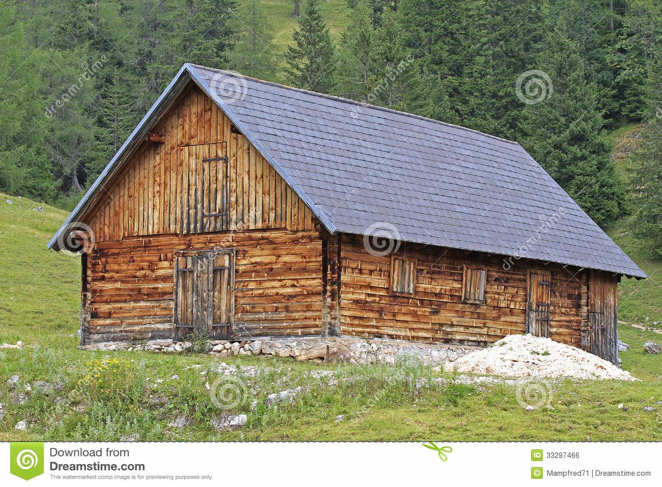 Wooden House Stock Cabin Green Europe