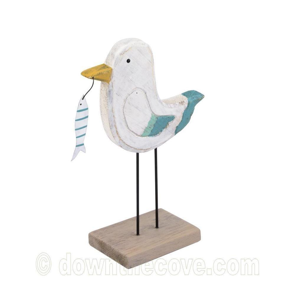 Wooden Seagull Ornament Holding Stripy Fish Contemporary