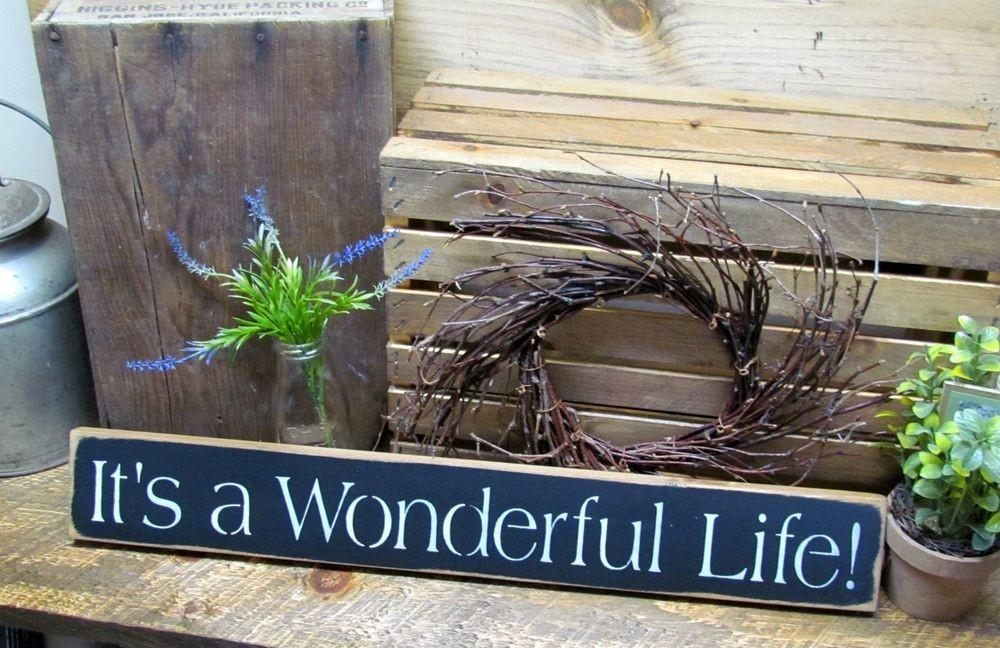 Wooden Sign Wonderful Life Christmas Winter