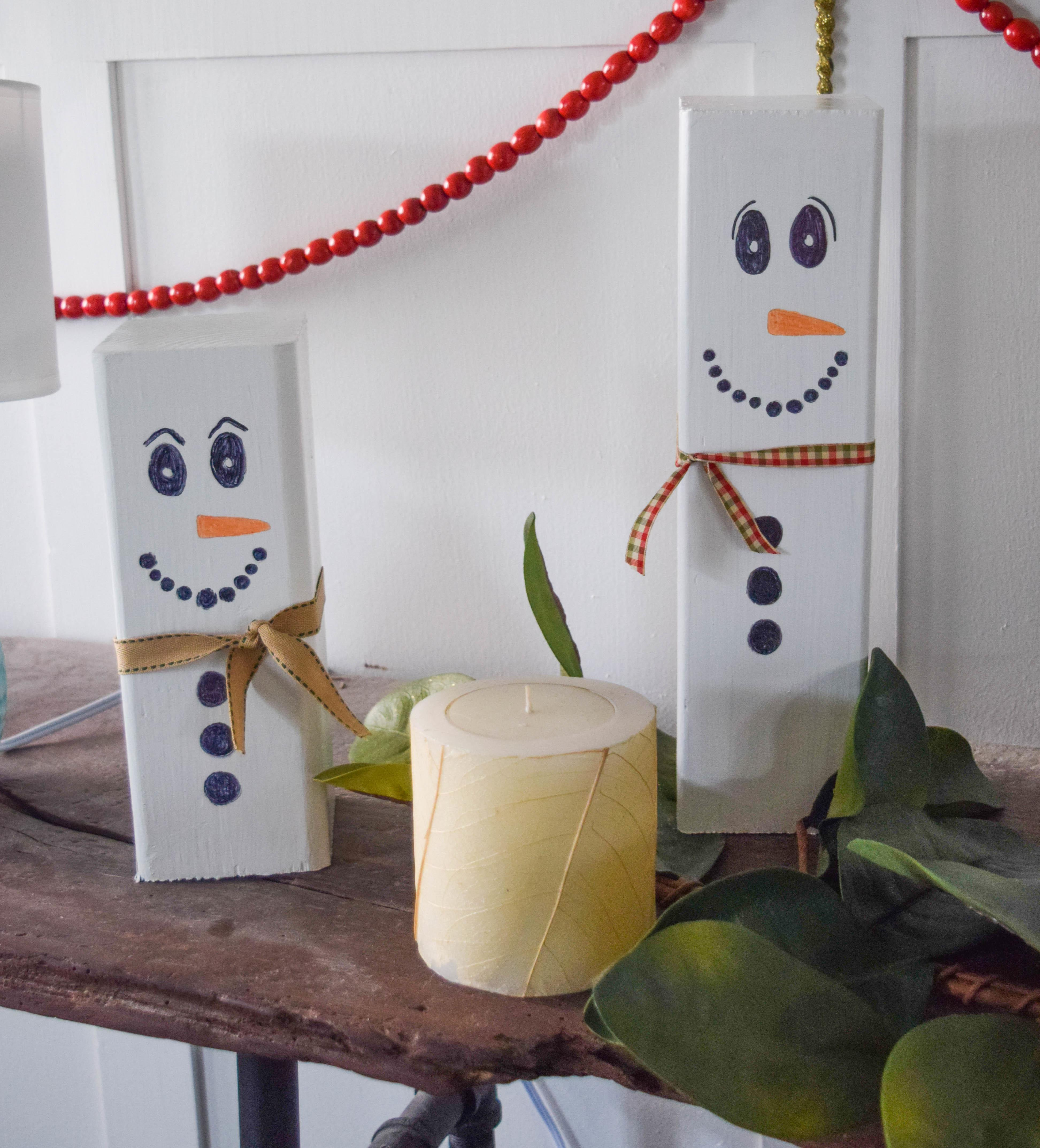 Wooden Snowman Craft Easy Christmas Decoration Idea Our