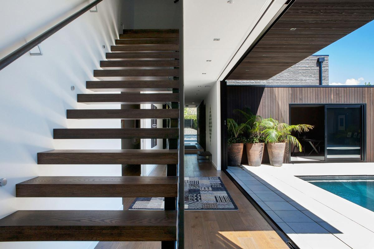 Wooden Stairs Terrace Modern House Auckland New Zealand