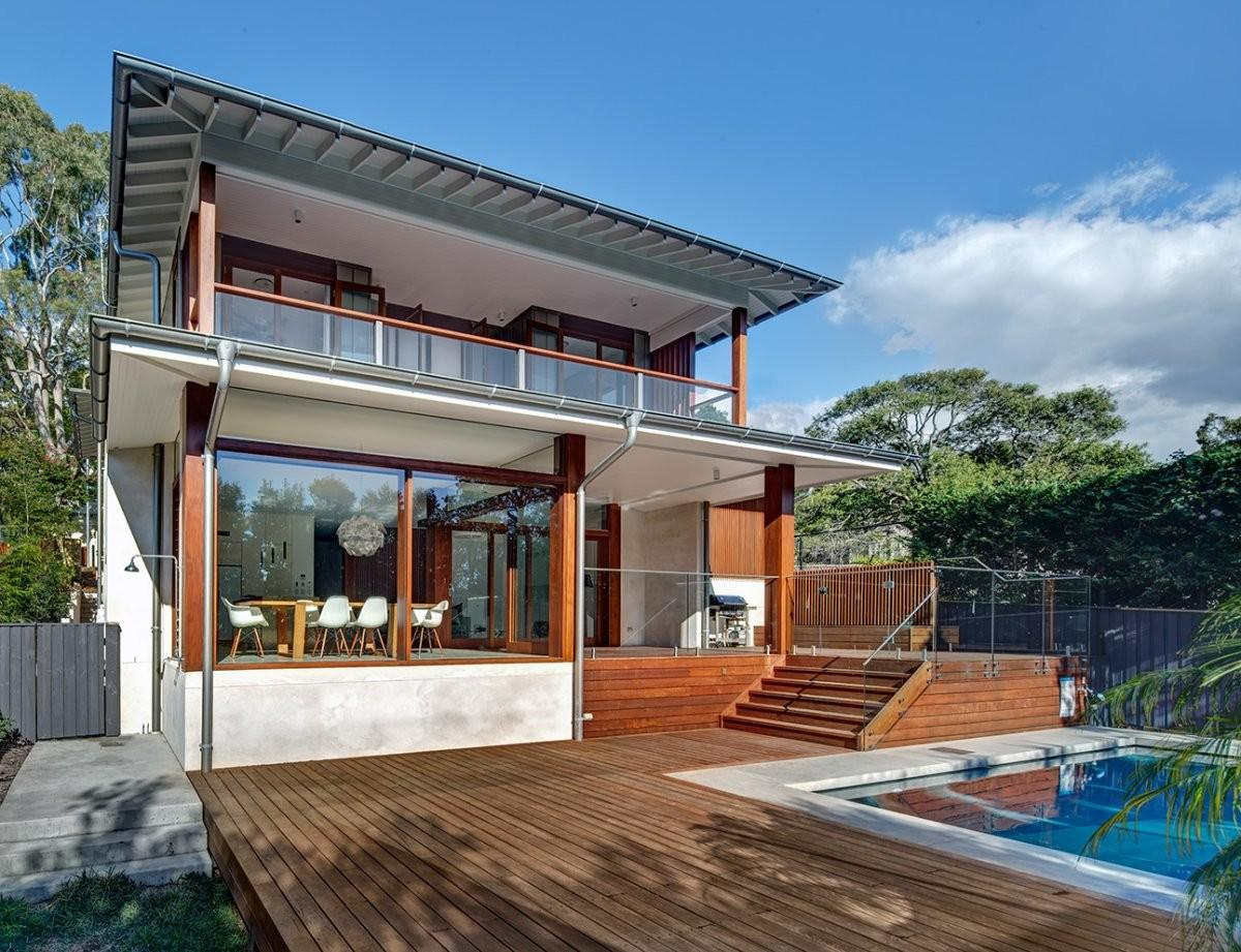 Wooden Terrace Pool Area Contemporary Home Sydney