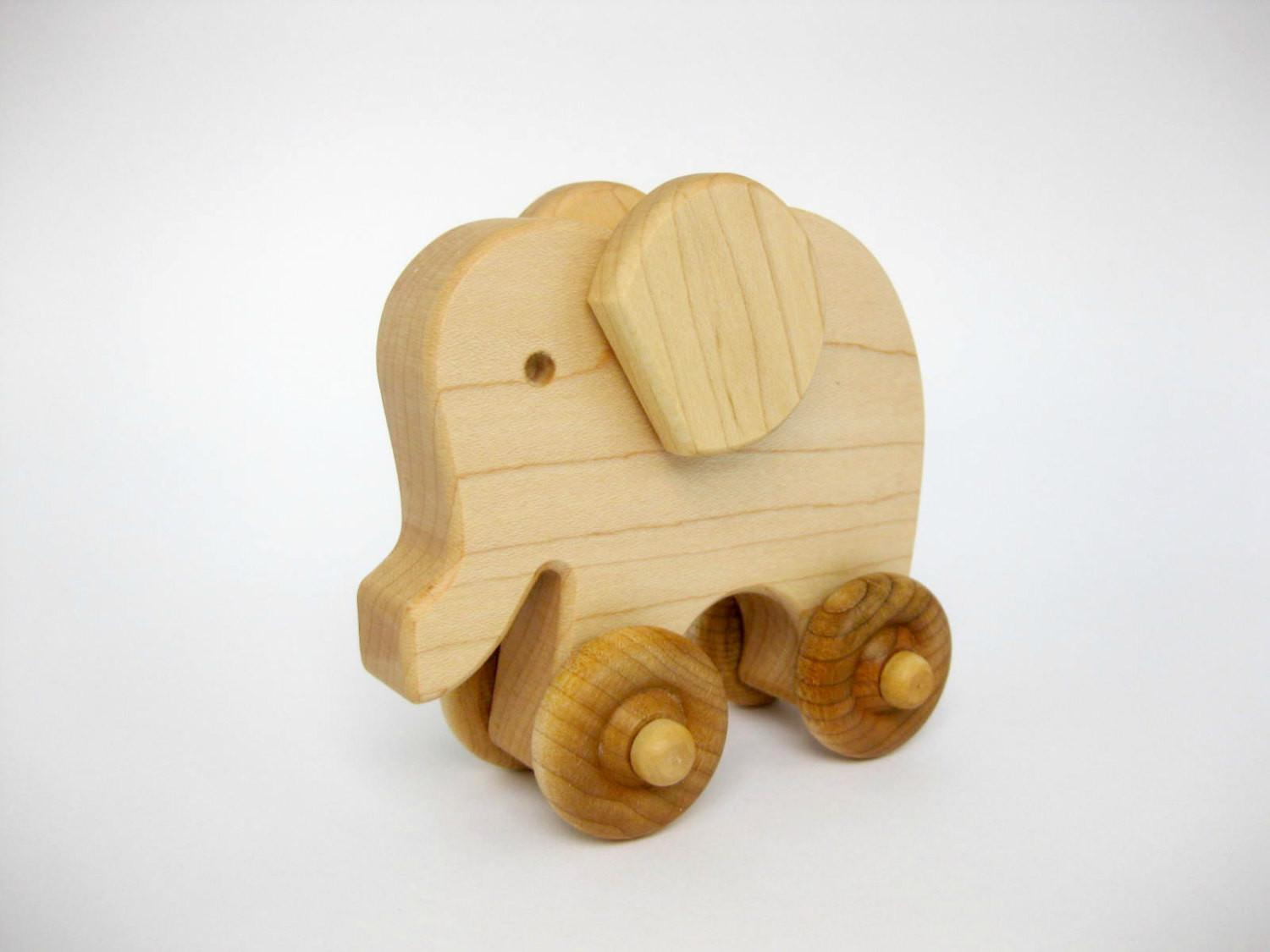 Wooden Toy Elephant Push Natural Wood