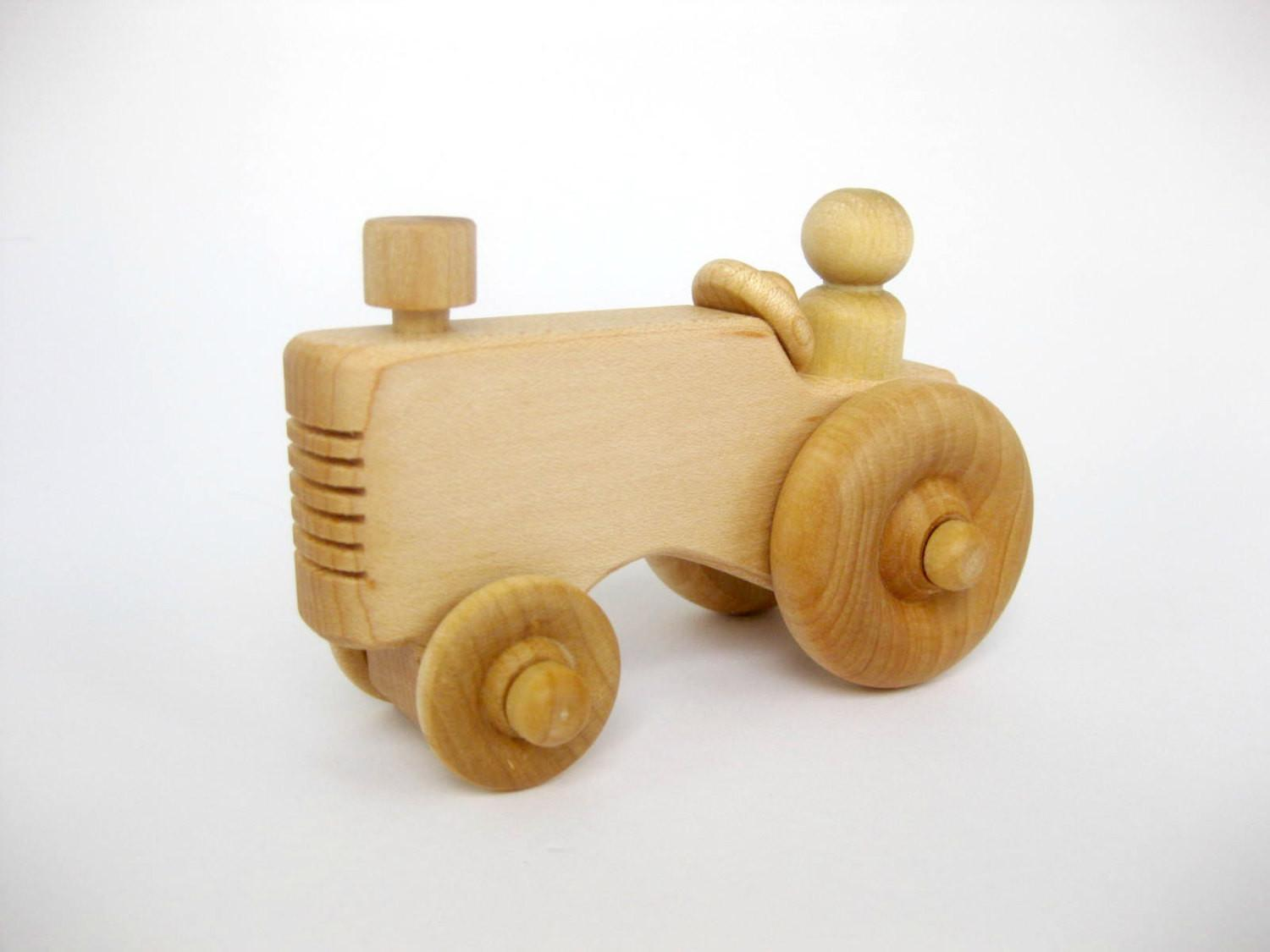Wooden Toy Farm Tractor Natural Wood
