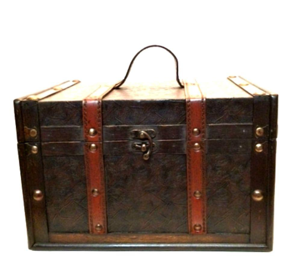 Wooden Trunk Box Chest Latch Hook Faux Leather Wrap Handle
