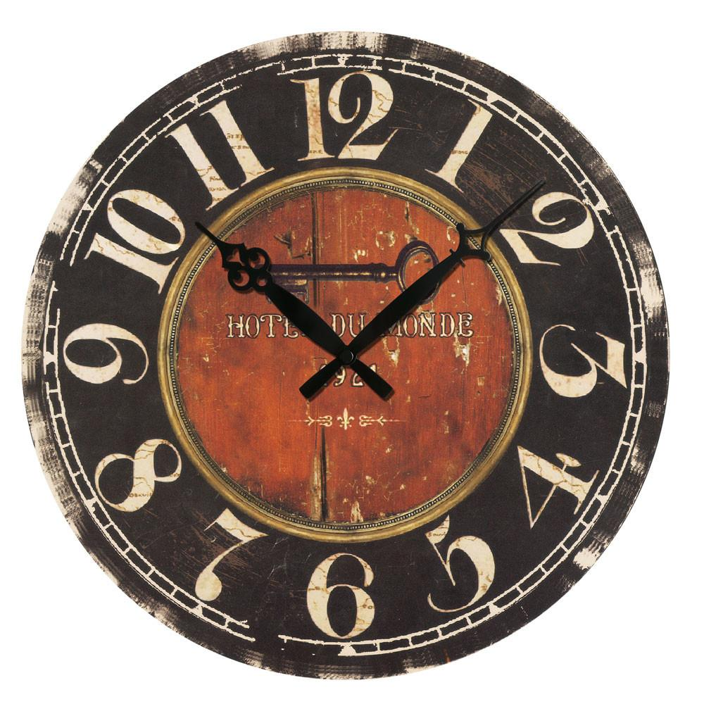 Wooden Wall Clock Antique Retro Stripe Country Style