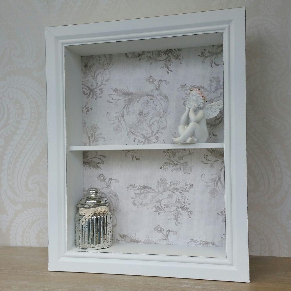 Wooden Wall Display Cabinet Shelf Unit White Ivory Shabby