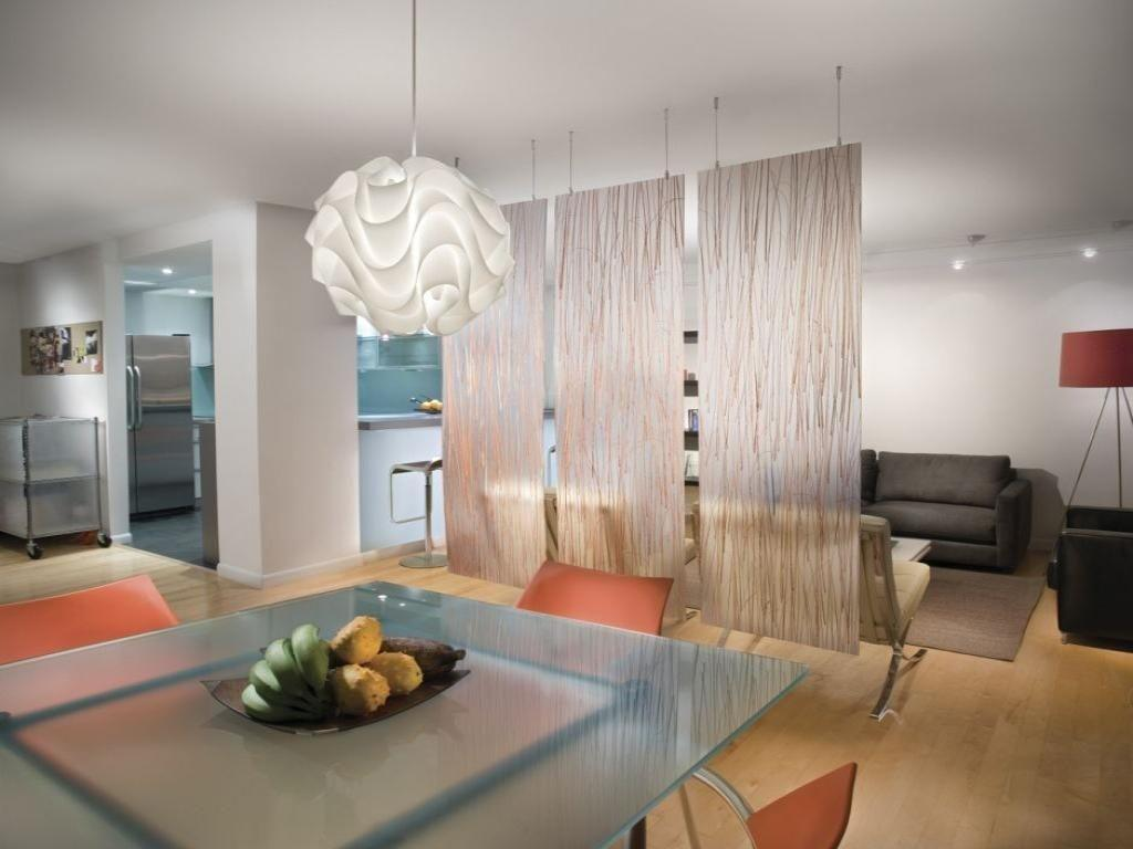 Wooden Wall Glass Partition Small Apartment