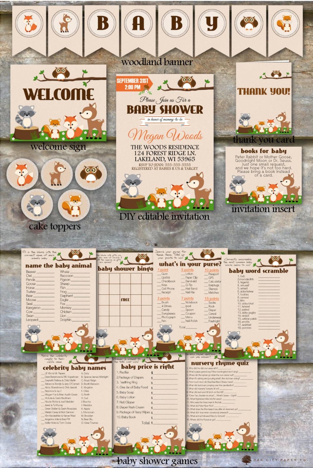 Woodland Baby Shower Party Package Animal