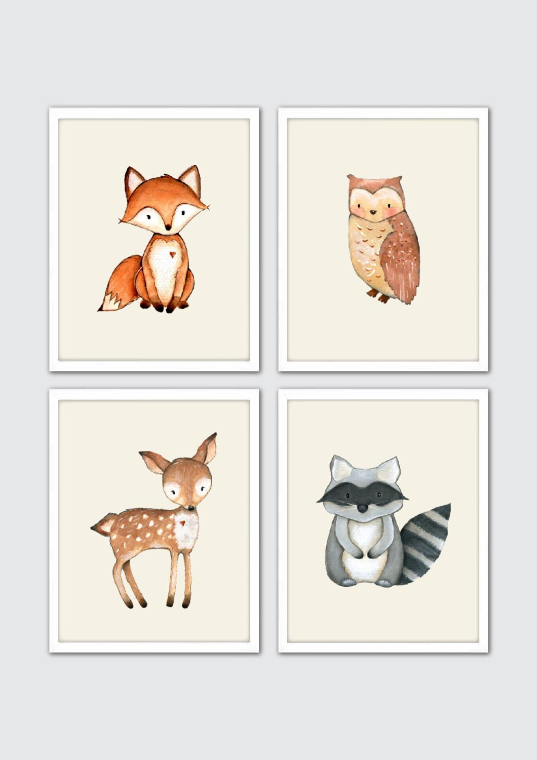 Woodland Creatures Nursery Print Set Watercolor Forest